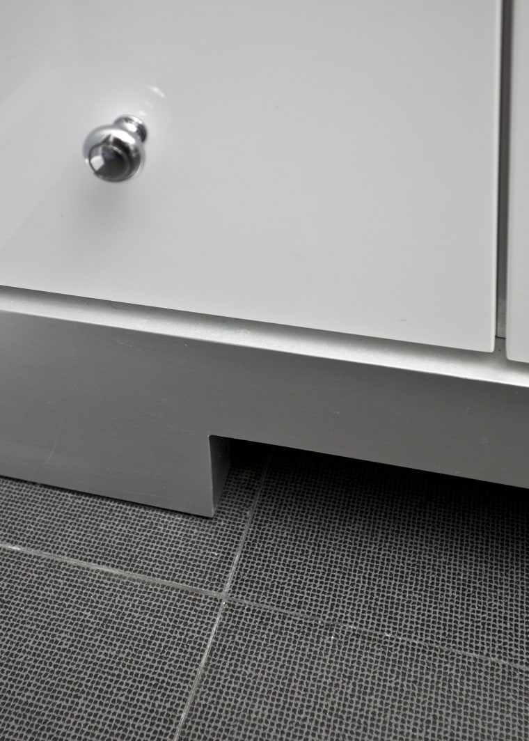 View of detail. angle, floor, line, product design, tap, gray