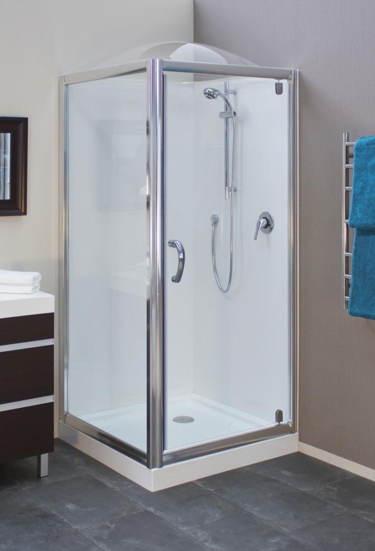 Shower enclosure with grey flooring. plumbing fixture, shower, gray