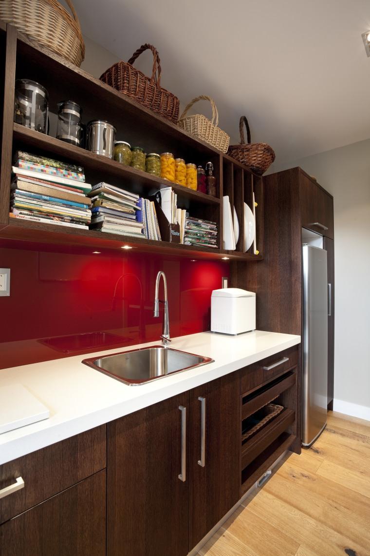 dark wooden cabinetry, white countertop, red splashback cabinetry, countertop, cuisine classique, interior design, kitchen, room, shelf, wood, red, gray