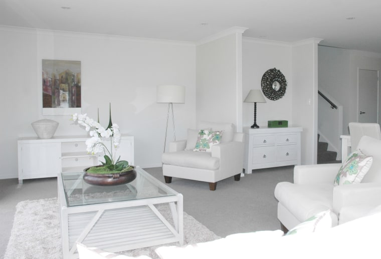 all white interior lounge suite floor, furniture, home, interior design, living room, product, room, wall, white, gray
