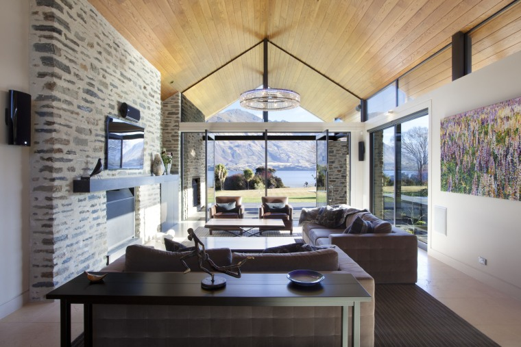 pointed timber roof, dark coloured fabrics in living ceiling, interior design, living room, real estate, gray