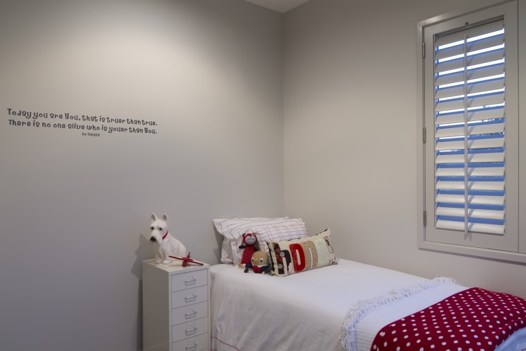 Single bedroom with wall quote. bed, bedroom, ceiling, home, interior design, product, room, wall, window, gray