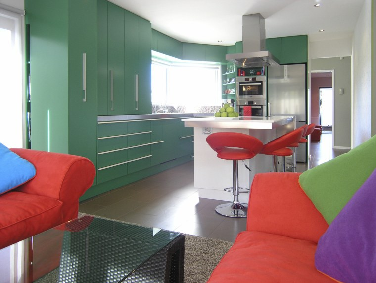 Green and red kitchen. architecture, furniture, home, house, interior design, living room, real estate, room, table, white