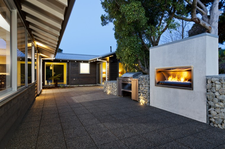 Fireplace and outdoor area. architecture, home, house, property, real estate, black