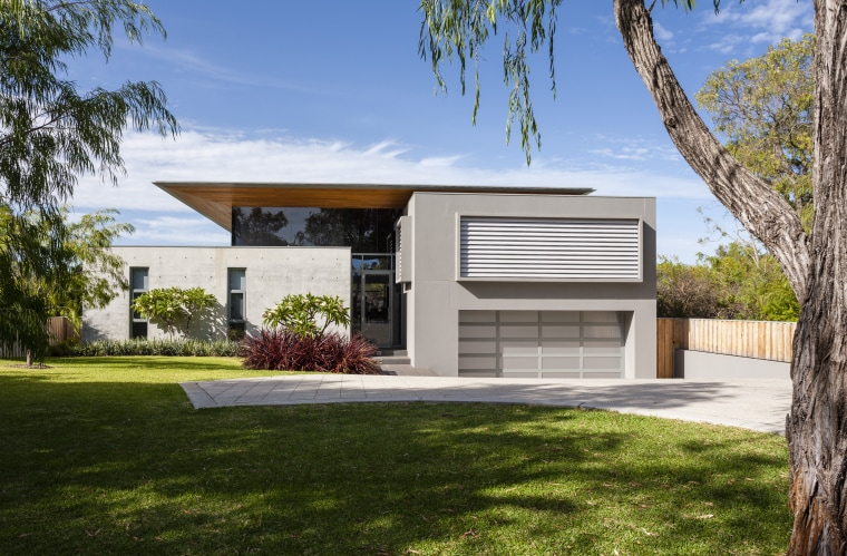 To minimise the visual impact of this contemporary architecture, cottage, elevation, estate, facade, home, house, property, real estate, residential area, brown