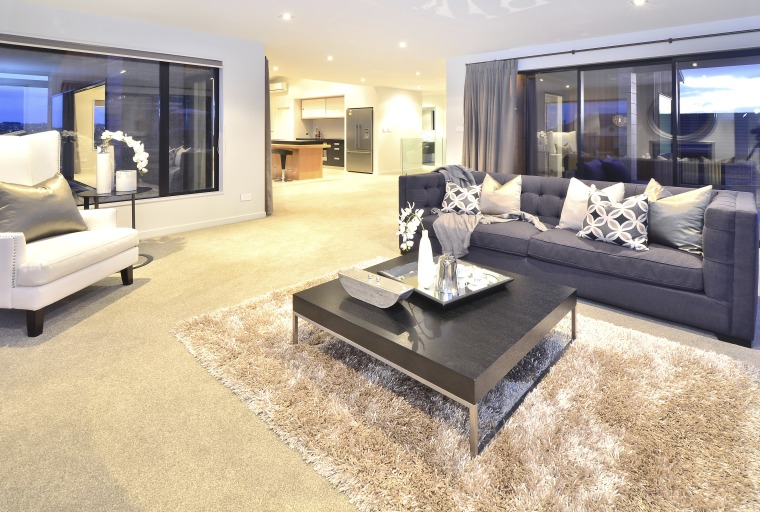 With A Light Touch Cranston Homes' House With Trends Classy Hardwood Floors Living Room Exterior
