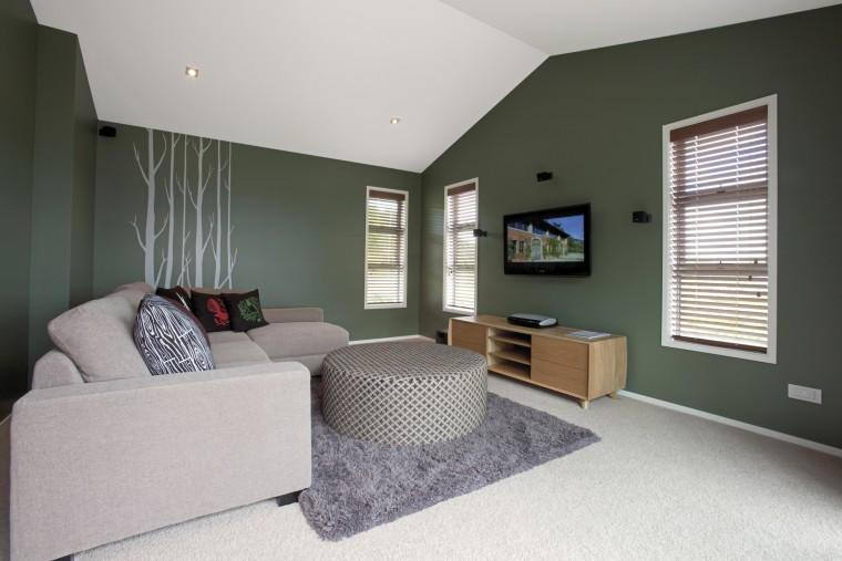 GJ Gardner Homes Lakes show home bedroom, ceiling, floor, home, house, interior design, living room, property, real estate, room, window, gray, black