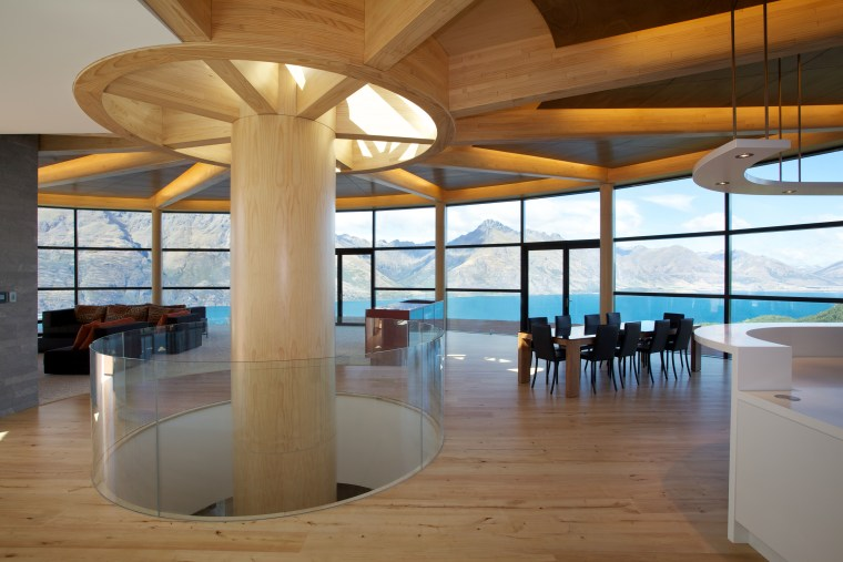 to maximise light and views,this home features a architecture, ceiling, daylighting, estate, floor, flooring, interior design, lobby, property, real estate, wood, brown