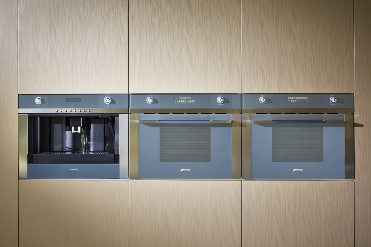 Cavanough of Desire Beauty specified a Smeg coffee home appliance, kitchen, kitchen appliance, product, gray, brown
