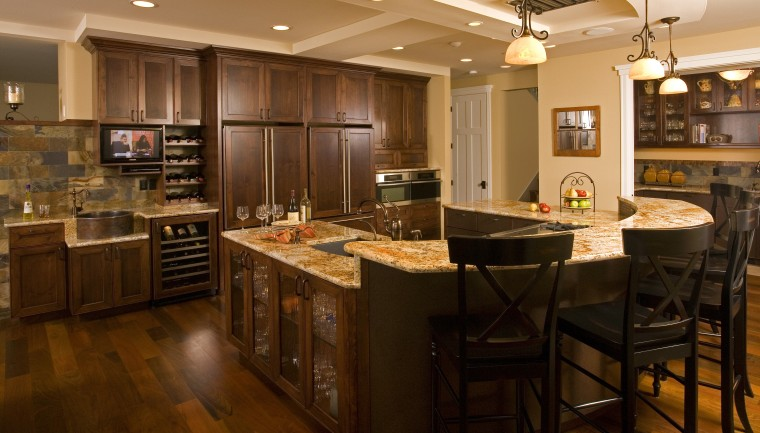This spacious entertainers kitchen designed by Richard Landon cabinetry, countertop, cuisine classique, flooring, hardwood, interior design, kitchen, room, wood flooring, brown