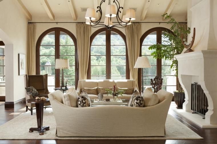 Santa Barbara-Meditteranean-style interior by Alison Whittaker ceiling, estate, furniture, home, interior design, living room, real estate, room, window, brown, gray