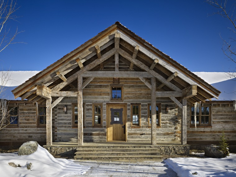 A Classic Mountain Log House From The Outside, Building, Cottage, Facade,  Farmhouse