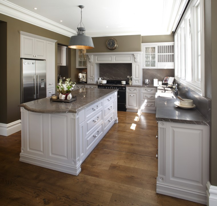 This traditional workspace is by Wonderful Kitchens cabinetry, countertop, cuisine classique, floor, flooring, furniture, hardwood, interior design, kitchen, laminate flooring, room, wood flooring, wood stain, brown, gray, white