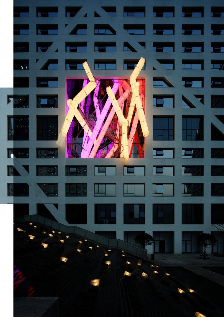 Raffles City Chengdu by Steven Holl Architects light, night, black, teal