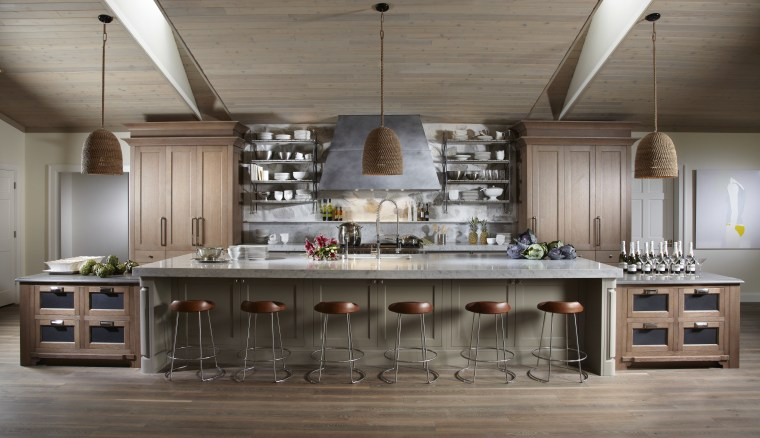 Natural, organic materials feature throughout this new kitchen, countertop, cuisine classique, interior design, kitchen, table, gray