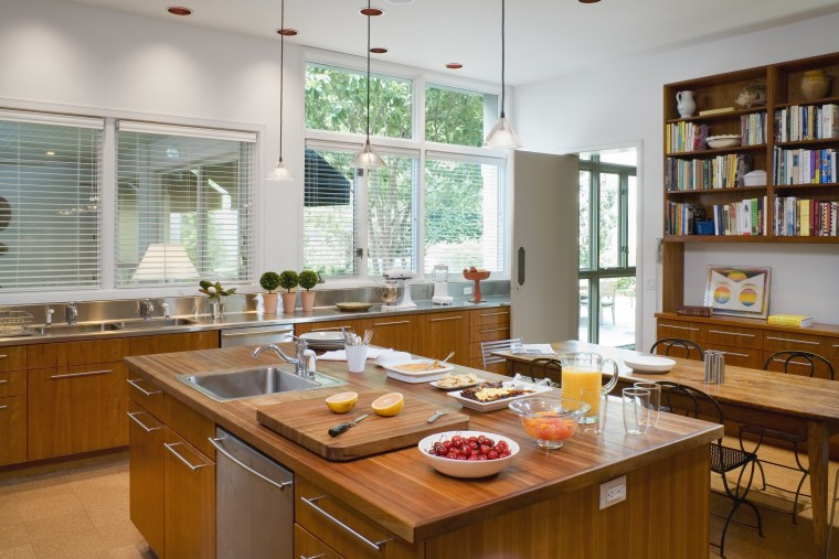 Three different countertop materials feature in this kitchen, countertop, interior design, kitchen, room, window, gray, brown