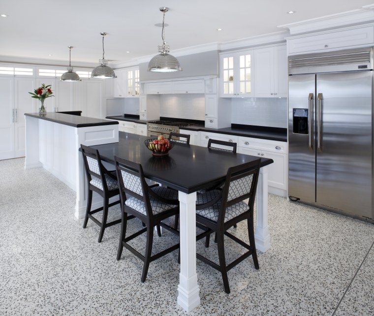 Hamptons-style kitchen by Wonderful Kitchens countertop, dining room, floor, flooring, interior design, kitchen, real estate, table, gray