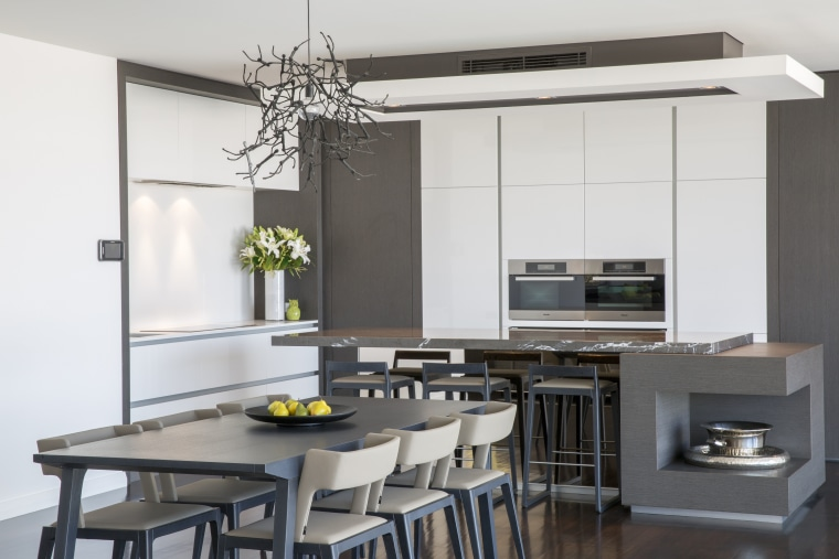 Contemporary kitchen with marble benchtop interior design, kitchen, table, white