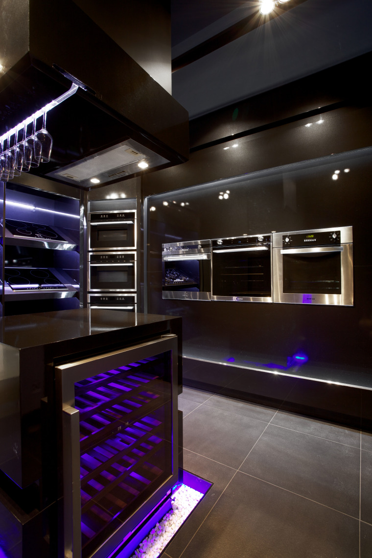 Italian designed appliances by Eisno Lifetech architecture, ceiling, interior design, kitchen, lighting, black