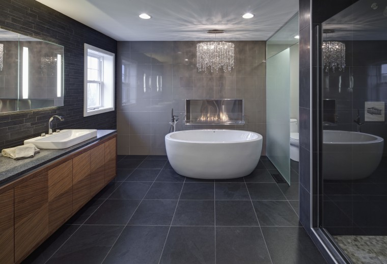 With glittering reflections, dancing flames and smooth textures, architecture, bathroom, floor, flooring, interior design, room, tile, black, gray