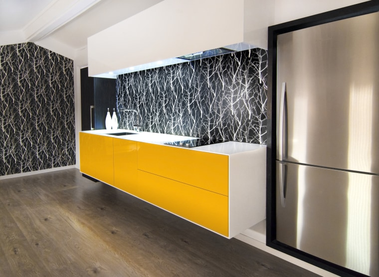 Resene Fuel Yellow lacquer features on the doors floor, flooring, furniture, interior design, product design, wall, white
