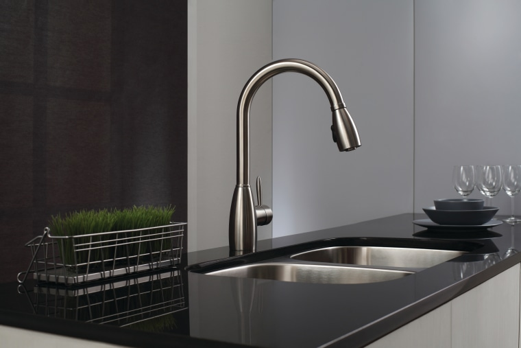While chrome-finished faucets have a mover look, faucets bathroom sink, kitchen, plumbing fixture, product design, sink, tap, black, gray