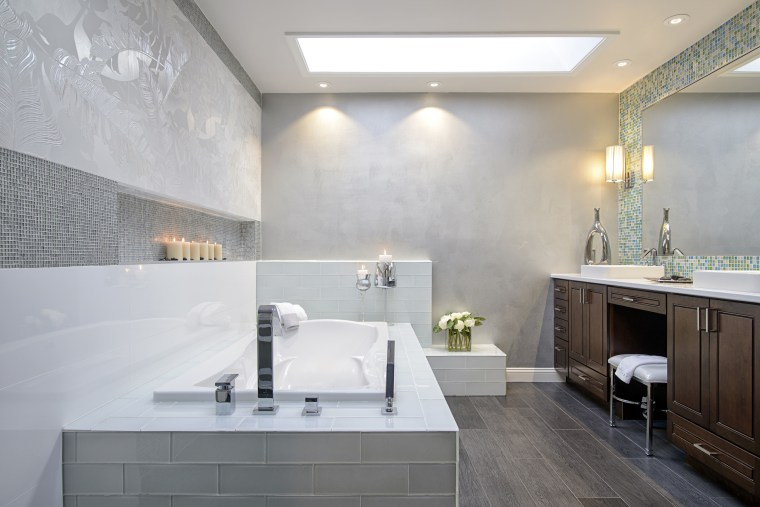 The walls of this bathroom have the look architecture, bathroom, ceiling, daylighting, floor, home, interior design, room, sink, tile, wall, gray