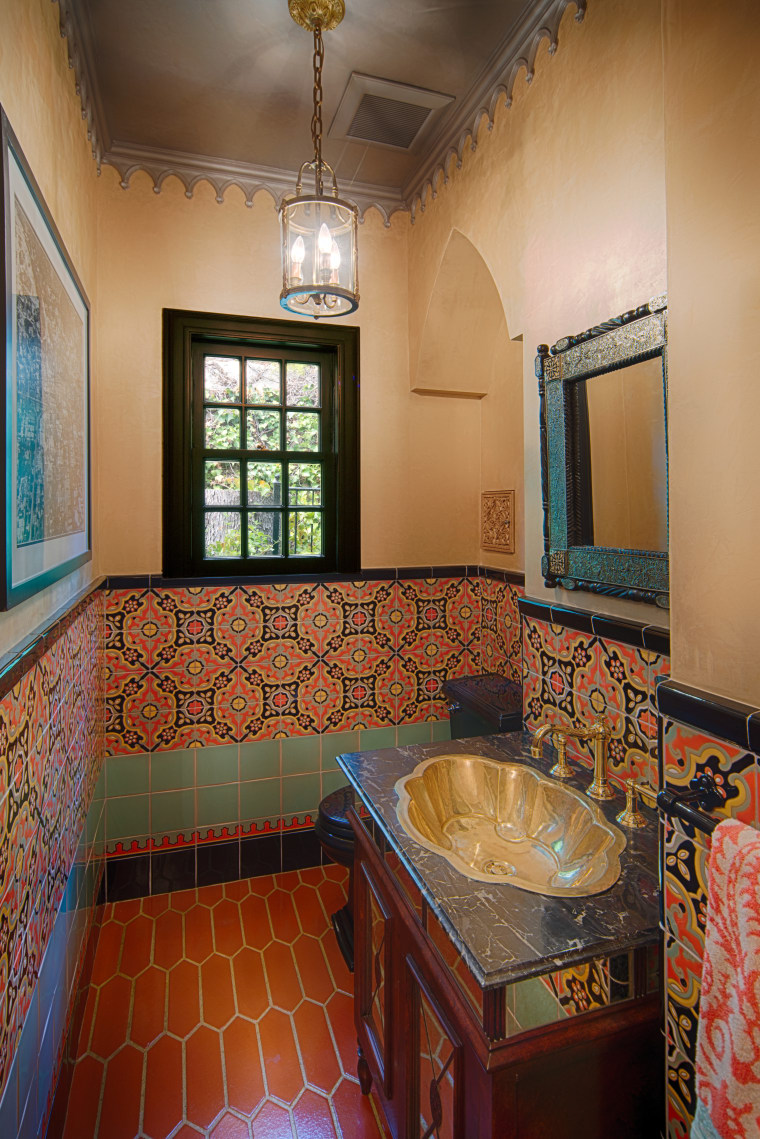 Powder rooms provide an opportunity to be a architecture, bathroom, ceiling, estate, flooring, home, house, interior design, real estate, room, wall, brown
