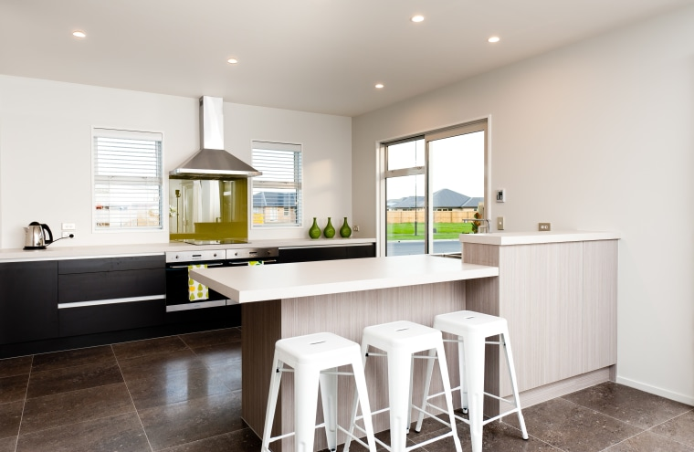 Contemporary open plan show home with Smeg kitchen cabinetry, countertop, cuisine classique, floor, flooring, home, interior design, kitchen, property, real estate, room, white