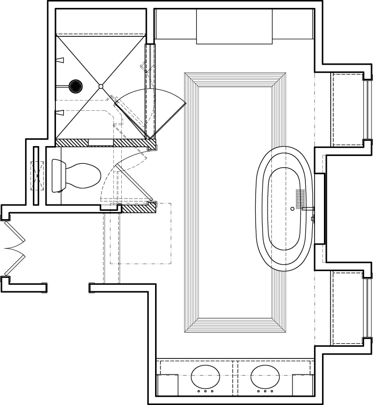 Traditional, simply styled bathroom with decorative wall tiles, angle, area, black and white, design, diagram, drawing, floor plan, font, line, line art, product, product design, square, structure, technical drawing, text, white
