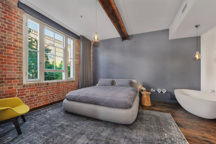 Sandblasted brick walls and new hand-scraped, distressed French architecture, ceiling, floor, interior design, loft, real estate, room, wall, gray