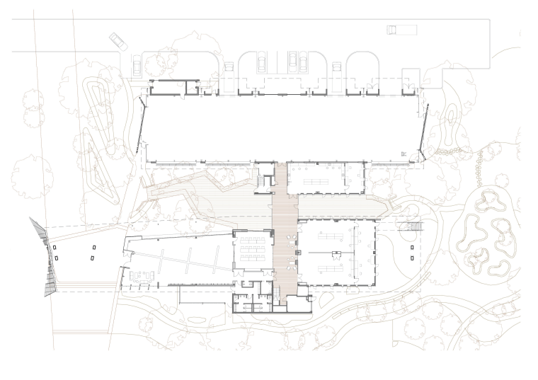 The two linked buildings of the Sustainable Buildings angle, architecture, area, artwork, black and white, design, diagram, drawing, font, line, line art, plan, product, product design, sketch, structure, white