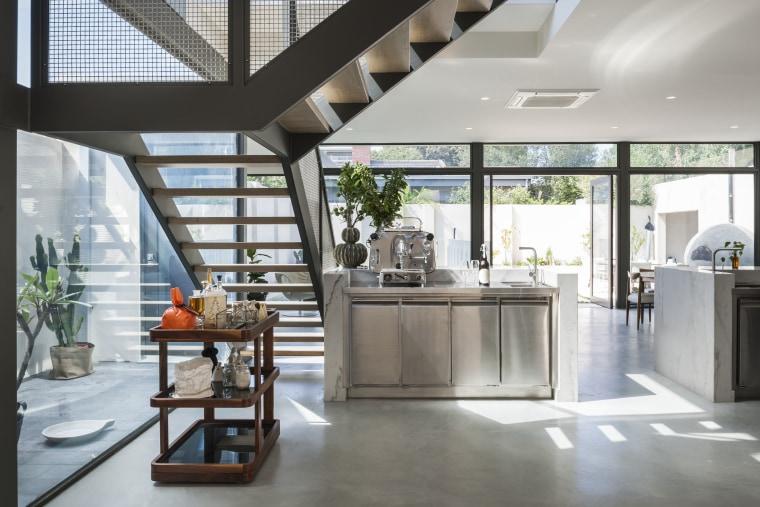 In this new kitchen by Domenic Ridolfi, one house, interior design, gray, white