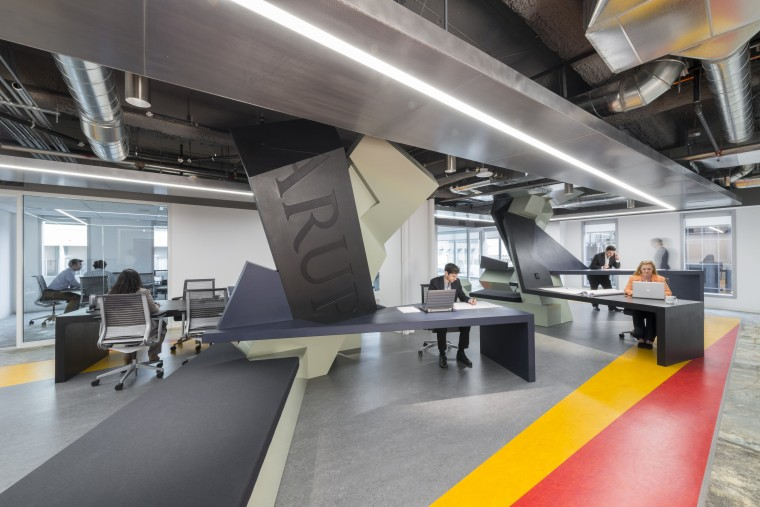 Applied geometry  this satellite office for leading interior design, product design, gray
