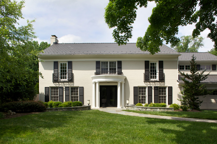 A major remodeling project has nearly doubled the cottage, elevation, estate, facade, farmhouse, historic house, home, house, mansion, plantation, property, real estate, residential area, roof, siding, window, yard, brown, white