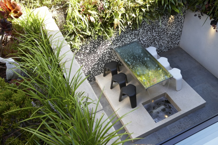 Where ground space is limited, a living wall backyard, courtyard, flower, garden, grass, plant, water