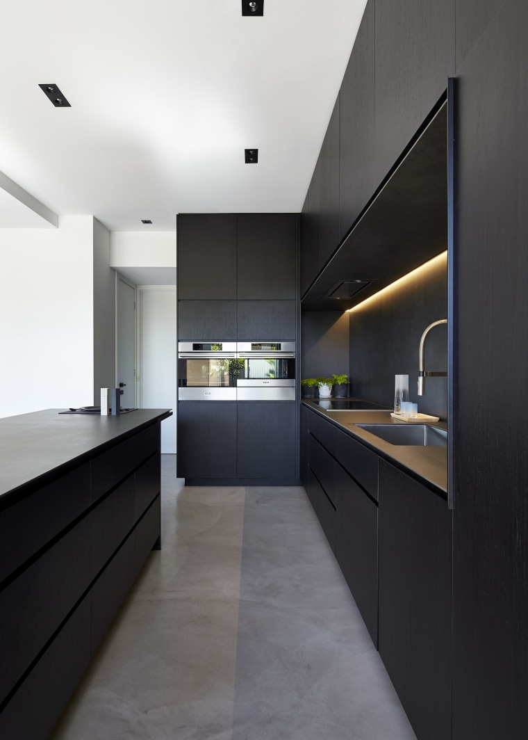 Dropped items are less likely to break on architecture, cabinetry, ceiling, countertop, house, interior design, interior designer, kitchen, black, white