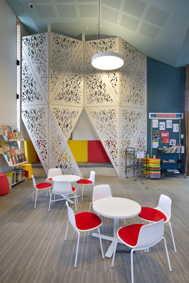 The Waiheke library provides a variety of seating architecture, ceiling, chair, furniture, interior design, room, table, wall, gray
