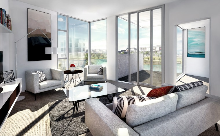 A range of apartment sizes is on offer interior design, living room, property, real estate, room, window, gray, white