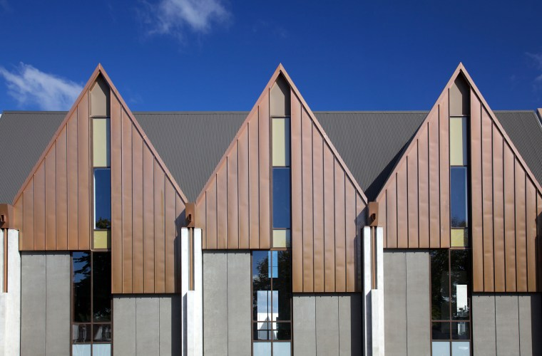 Seismic-engineered windows and doors in Knox Church were architecture, building, commercial building, daylighting, daytime, elevation, facade, home, house, line, real estate, residential area, roof, siding, sky, structure, window, gray, blue