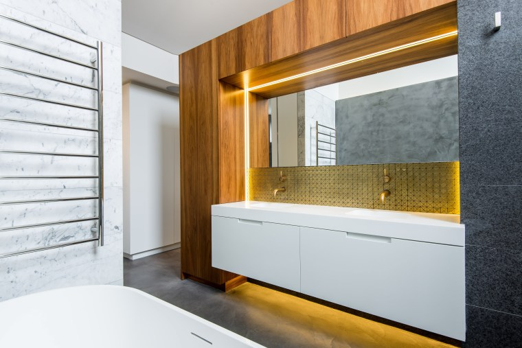 A floating vanity helps this bathroom feel more architecture, bathroom, interior design, room, wall, white