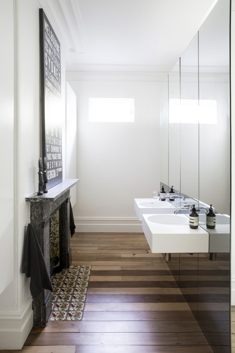 For this master bathroom renovation project by Architect bathroom, floor, flooring, home, interior design, room, sink, white