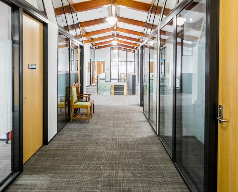 The refurbishment of interiors in the ClockTower Building door, floor, flooring, interior design, lobby, real estate, white, gray