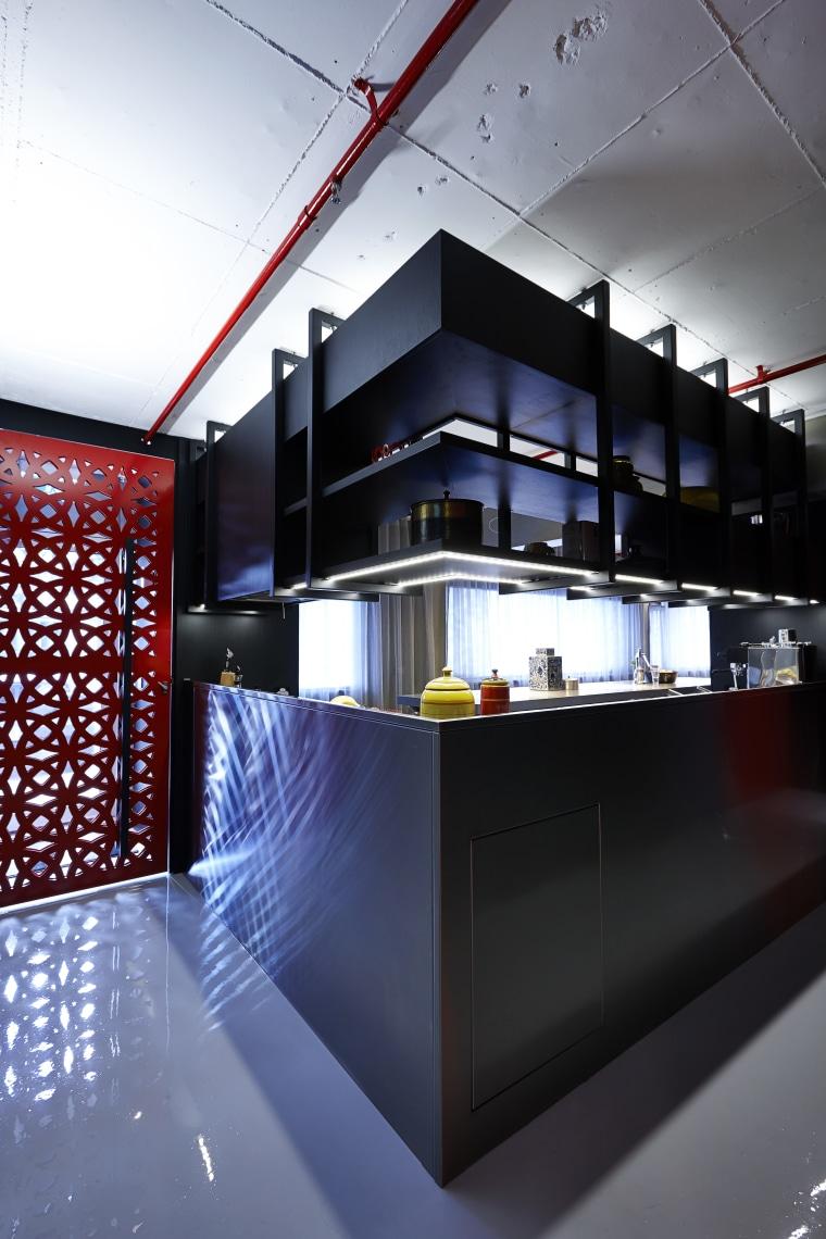 A bright red laser-cut screen door signals the architecture, glass, interior design, product design, black
