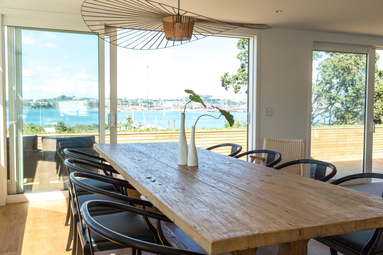 Dining room in renovated Devonport home with sea chair, dining room, estate, home, house, interior design, property, real estate, table, window, white