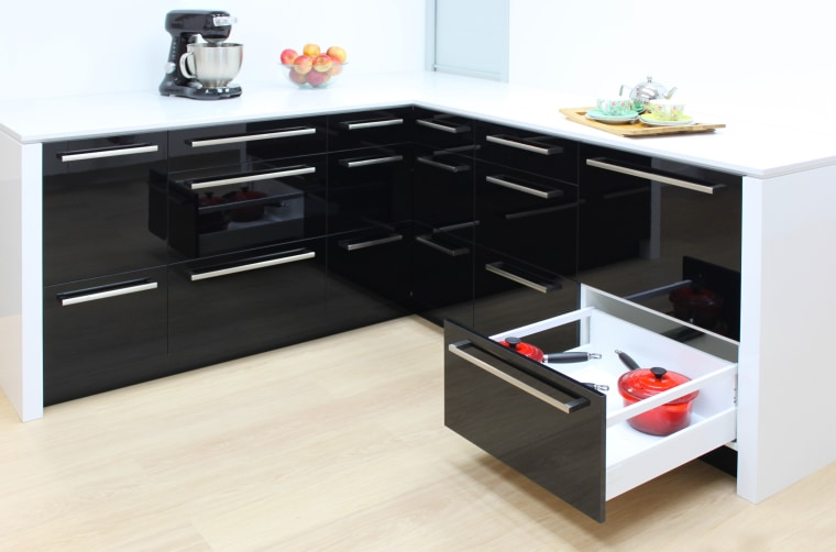 Acrygloss doors with hard acrylic layer for a angle, coffee table, desk, drawer, floor, furniture, kitchen, product, product design, table, white, black