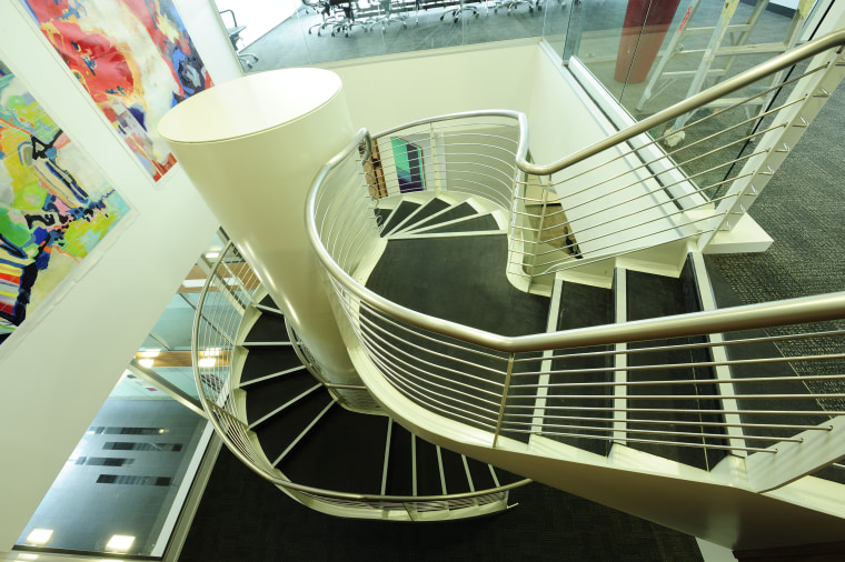A three tonne spiral staircase was addressed by architecture, building, daylighting, stairs, green