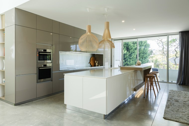 In this kitchen by Nancy Frost, reflective surfaces architecture, countertop, cuisine classique, interior design, kitchen, real estate, room, gray, white