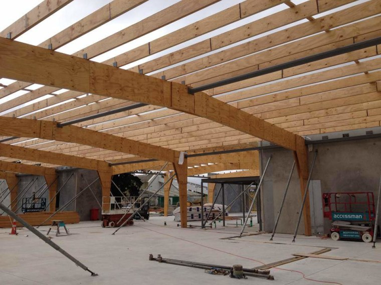 Nelson Pine Industries supplied the Laminated Veneer Lumber beam, ceiling, construction, daylighting, lumber, roof, shed, structure, wood, brown