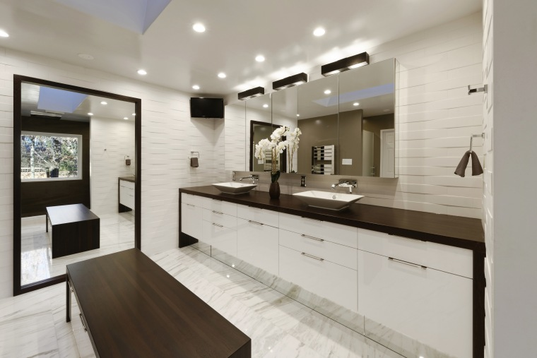 In this master bathroom project, a large mirror cabinetry, countertop, cuisine classique, interior design, kitchen, real estate, room, sink, gray